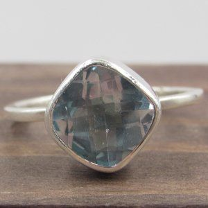 Size 6.75 Sterling Silver Blue Topaz Thin Ring